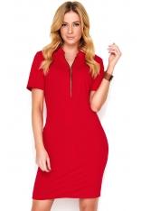 Czerwona Krótka Dzianinowa Sukienka z Rozpinanym Dekoltem