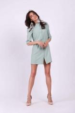 Zielona Koszulowa Mini Sukienka na Stójce