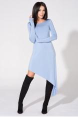 Niebieska Sukienka Asymetryczna Dzianinowa z Długim Rękawem