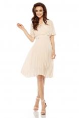 Beżowa Elegancka Kopertowa Sukienka z Plisowanym Dołem