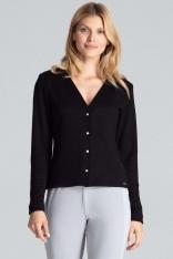 czarny Klasyczny Sweter w serek Zapinany na Perłowe Zatrzaski