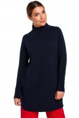 Sweter-Tunika z Półgolfem - Granatowy