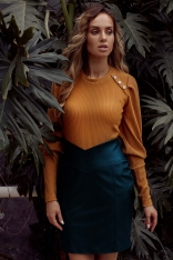 Dopasowana  Spódnica Mini z Eko-skóry - Zielona