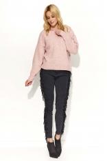 Różowy Sweter Klasyczny Melanżowy z Okrągłym Dekoltem