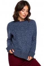 Niebieski Kimonowy Sweter z Kontrastowymi Mankietami