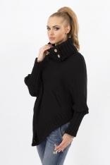 Czarny Sweter-Ponczo z Golfem z Ozdobnymi Guzikami