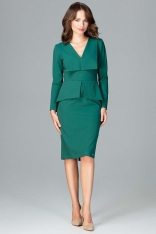 Zielona Wizytowa Sukienka z Asymetryczna Baskinką