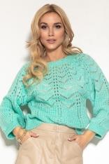 Ażurowy Sweter z Bufiastym Rękawem - Zielony