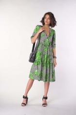 Sukienka z Falbanką z Kopertowym Dekoltem - Liście