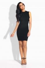 Czarna Sukienka Ołówkowa Mini z Ozdobnymi Paskami