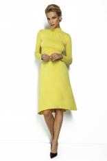 Żółta Rozkloszowana Sukienka na Stójce z Wiązaniem
