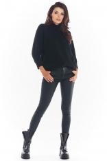 Czarny Kimonowy Sweter z Półgolfem