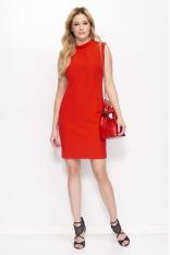 Czerwona Klasyczna Sukienka z Wycięciem na Plecach
