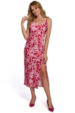 Długa Sukienka w Kwiaty na Ramiączkach - Model 1