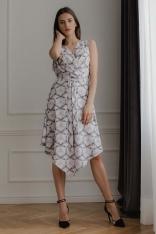 Asymetryczna Sukienka z Kopertowym Dekoltem - Wzór 113