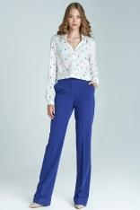 Niebieskie Eleganckie Spodnie w Kant z Mankietem