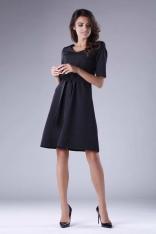 Rozkloszowana Czarna Sukienka z Czarnym Wiązaniem w Tali