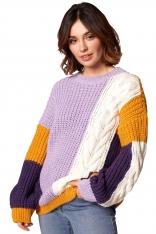 Wielokolorowy Sweter z Warkoczem Zakładany przez Głowę - Model 2