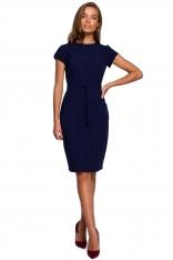 Minimalistyczna Ołówkowa Sukienka z Przeszyciami - Granatowa