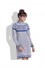 Szara Ciepła Sukienka z Golfem w Norweskie Wzory