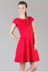 Czerwona Rozkloszowana Minimalistyczna  Dzianinowa Sukienka