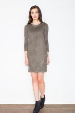 Oliwkowa Casualowa Sukienka z Imitacji Zamszu z Metalowymi Kółkami