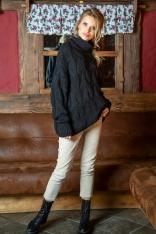 Czarny Obszerny Sweter z Golfem w Warkocze