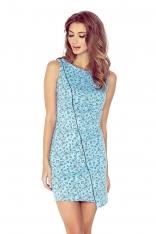 Błękitna Sukienka Elegancka Ołówkowa z Lamówką