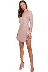 Pudrowa Dopasowana Asymetryczna Sukienka z Połyskiem
