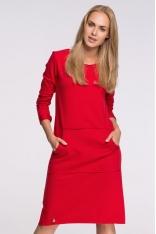 Czerwona Sportowa Sukienka z Kieszenią Kangurką przed Kolano