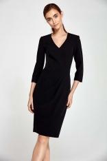 Czarna Sukienka z Asymetrycznym Drapowaniem