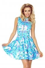 Niebieska Sukienka w Kwiaty Rozkloszowana z Suwakiem bez Rękawów