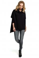 Czarna Oversizowa Asymetryczna Bluza z Luźnym Golfem