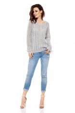 Jasnoszary Sweter Ażurowy z Kokardkami przy Rękawach