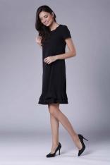 Czarna Uniwersalna Midi Sukienka z Małą Falbanką