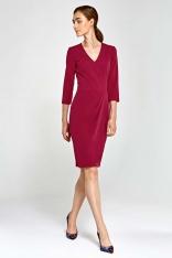 Bordowa Sukienka z Asymetrycznym Drapowaniem
