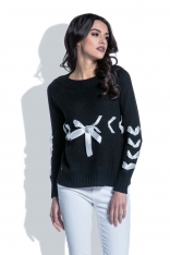 Czarny Klasyczny Sweter z Ozdobnymi Kokardkami
