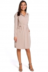 Beżowa Sukienka Koszulowa z Paskiem