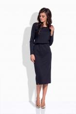 Czarna Sukienka Midi z Gumką w Tali