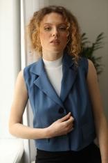 Elegancka Krótka Kamizelka - Jeans