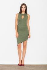 Zielona Asymetryczna Dopasowana Sukienka z Łezką