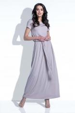 Mocca Sukienka Maxi z Wiązanym Paskiem