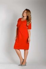 Czerwona Dopasowana Sukienka z Ozdobnym Marszczeniem PLUS SIZE