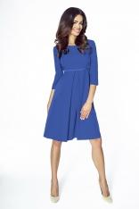 Niebieska Sukienka Wizytowa Trapezowa z Kontrafałdą