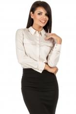 Beżowa Biznesowa Koszulowa Bluzka