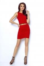 Czerwona Dopasowana Mini Spódnica z Kopertowym Założeniem