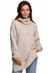 Damski Sweter Oversize z Golfem  - Beżowy