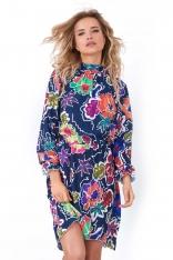 Asymetryczna Sukienka ze Stójką w Kwiaty