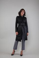 Czarny Długi Płaszcz z Eco- Skóry z Paskiem