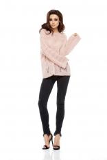 Pudrowy Sweterek Oversize Luźny Ażurowy